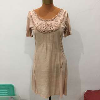 Authentic zara nude dress sabrina bohemian