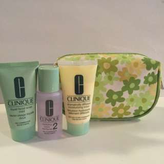 Clinique pouch and skin care set