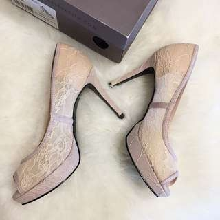 Charles and Keith pink lace heels