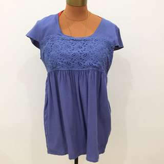 Ripcurl blouse in white and blue size L