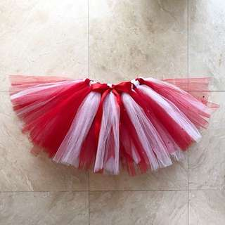 Red & White Tutu Skirt with Red Swarovski Stones