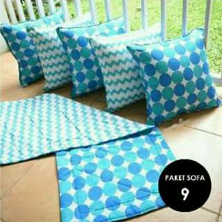 Sarung bantal sofa 1set(5 pcs) 40x40 plus taplak meja 100x40