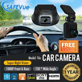 SAFEVue 1080P Front and Rear Dual Channel Car Camera T6s with 1 Year Warranty