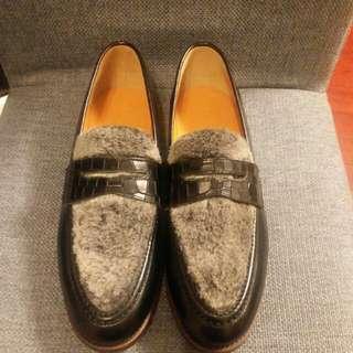 ☆全新☆Polpetta 黑色皮面mix毛毛面loafer 男裝鞋 全新購自日本 極靚拉線鞋底