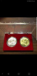 Rooster year gold and silver coin