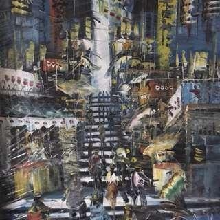 Oil Painting HK Street Scene
