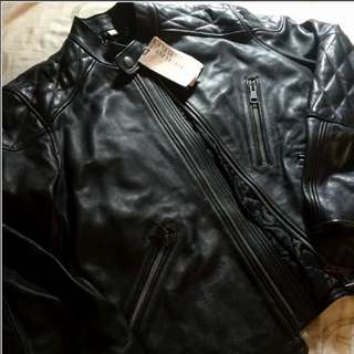 **New Men's Burberry 100%real Rider Leather Jacket Size M皮褸