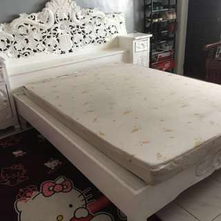 White Bed Frame (Queen Size) and Uratex Foam