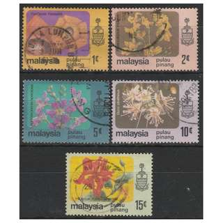 MALAYSIA 1979 Flowers Series Penang 2c-15c 5V used SG #86-90 (0094)