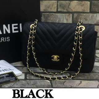Chanel Chevron Medium Flap Bag Black