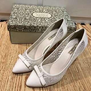 Randa 日本淑女品牌 蕾絲 蝴蝶結跟鞋 尾牙 婚禮