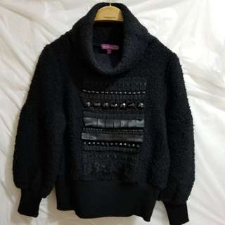 """Moiselle Black Wool Sweater, Size: 38, Bust: 36"""""""