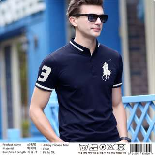 JOHNY BLOUSE NAVY BORDIR PUTIH POLO