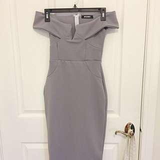 Boohoo lavender/purple off the shoulder dress