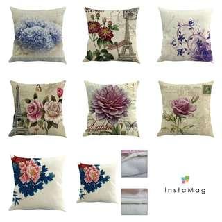 Nordic Style Flower Vintage Linen Cotton Pillow Case