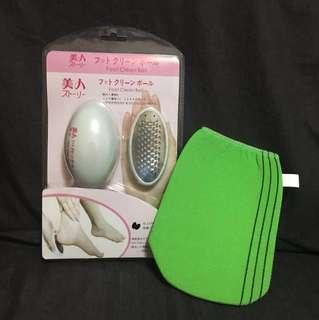日本 去腳皮/去角質 + 洗澡去角質布