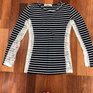 Stripped Long Sleeve Top with Lace