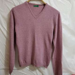 United Colors of Benetton Pink Wool Sweater, Made in Italy, Size: M, Bust: 35""
