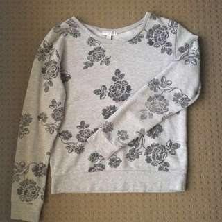 Grey Flower Print Jumper