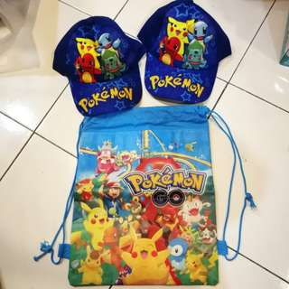 Pokemon hats and picnic bag (take all)