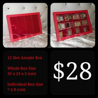 12 Slot Amulet Box with Open Cover Display