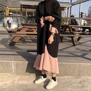 《早衣服》1月心開始❤️飄來飄去設計款衛衣拼接雪紡喇叭袖荷葉魚尾洋裝連衣裙(預)