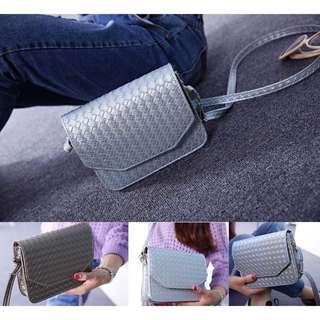 Sling Bag Stitch Design Leather Silver
