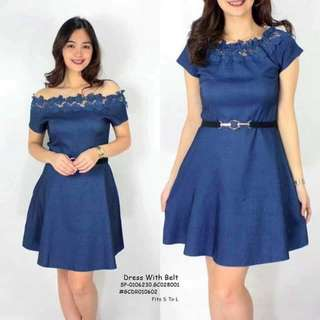 Dress with belt fits S-L