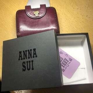 Anna Sui 酒紅色真皮銀包