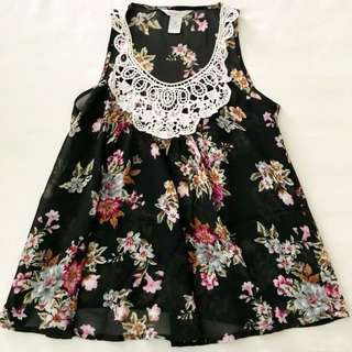 Babydoll Sheer Floral Sleeveless Top