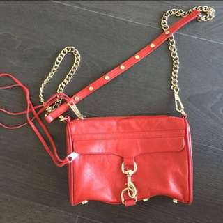 REBECCA MINKOFF MINI MAC - RED WITH GOLD HARDWARE