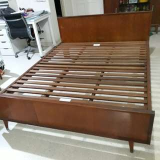 vintage mid century danish teakwood queen size bed frame