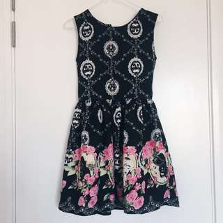 Little Black Dress with Victorian Print