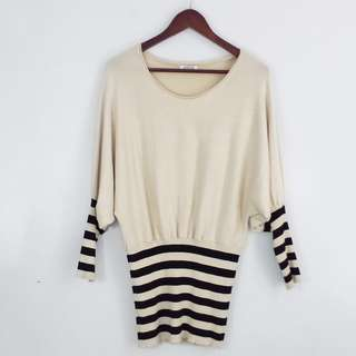 Cream with Striped Sleeves and Bottom Design Sweater Top