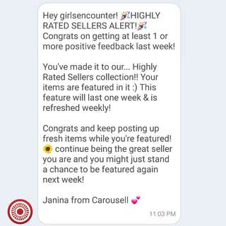Highly rated seller (Carousell)