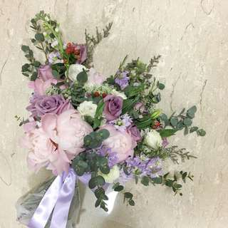 Bridal Bouquet in Fresh Peonies and Roses with Mix Fillers / XL bouquet / Wedding Bouquet of Flowers