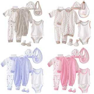 8 Pcs Set Newborn Baby Clothing Outfits Tops + Pants READY STOCK