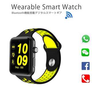 [ 熱賣中 ] 智能手錶 Smart Watch- WHATSAPP ,WECHAT FB IG QQ 信息顯示/來電顯示/可插sim 咭/播歌/睡眠監測/卡路里計算 /計步器/睡眠監測 IP32 Fitness Tracker Sleep Monitor, Pedometer, SIM card, Play Music on the Watch, for iPhone Android IOS (Yellow)
