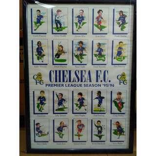 Chelsea F.C. Premier League Season '95/96 Team Players Framed Caricature Protrait
