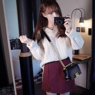 🚚 麻花針織毛衣 韓版 V領 白色 #運費我來出 #含運最划算