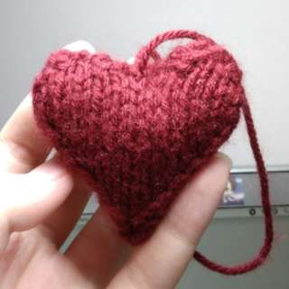 Hand-knitted Heart Plushies for Valentine's Day!