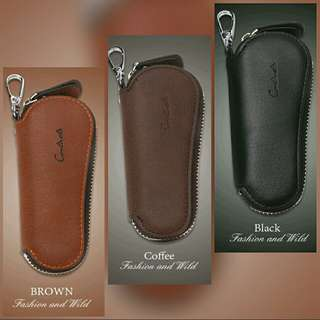 Engrave Name Car Key Pouch Leather