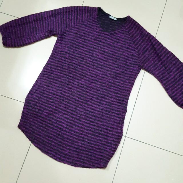 6分袖 條紋 桃紅黑色長版上衣