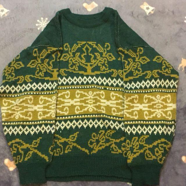 古著綠黃白針織毛衣