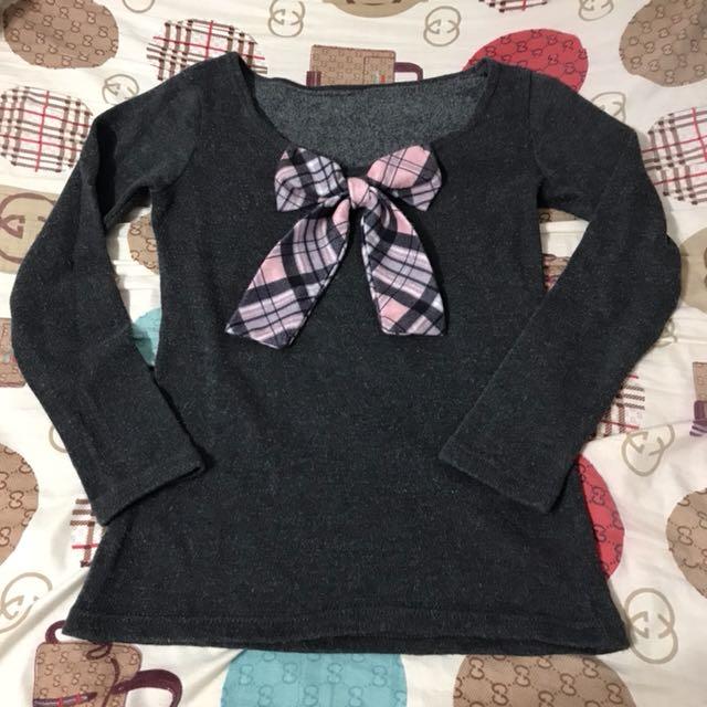 學院風可愛灰色格紋蝴蝶結毛衣