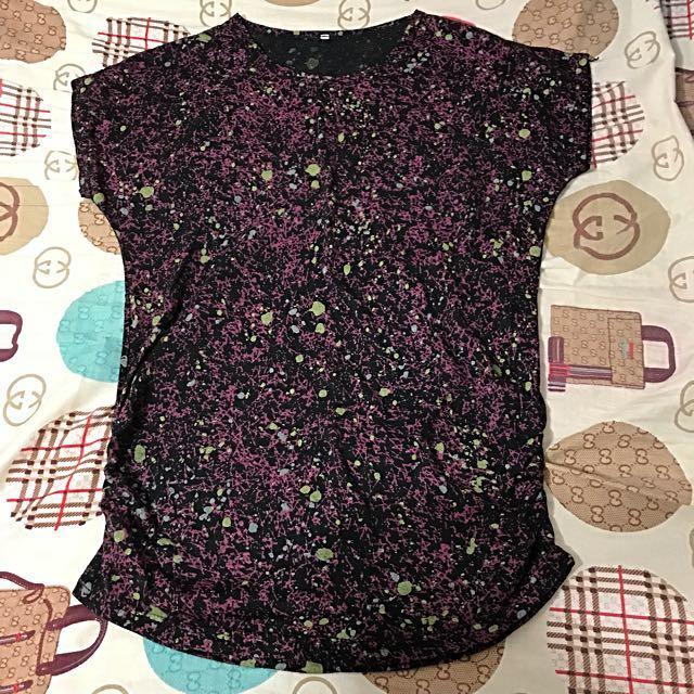 搖滾帥氣噴漆粉紫紅色短袖上衣