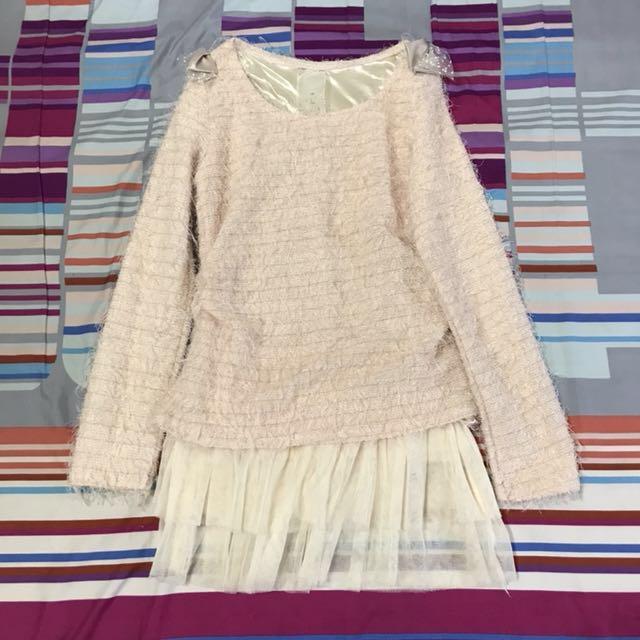 日系氣質粉嫩洋裝/長版上衣