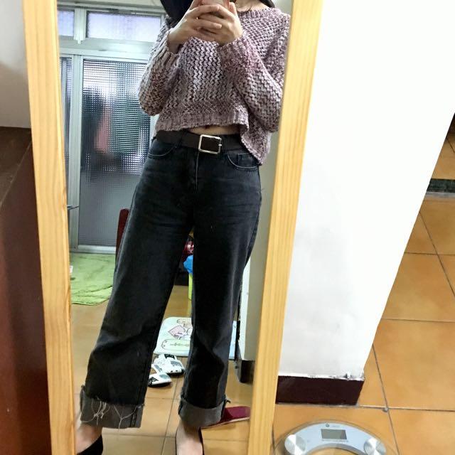 厚針織豆沙紅漸層短版毛衣