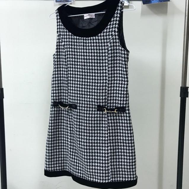東京著衣🎀千鳥紋拼接絨布貴氣優雅洋裝