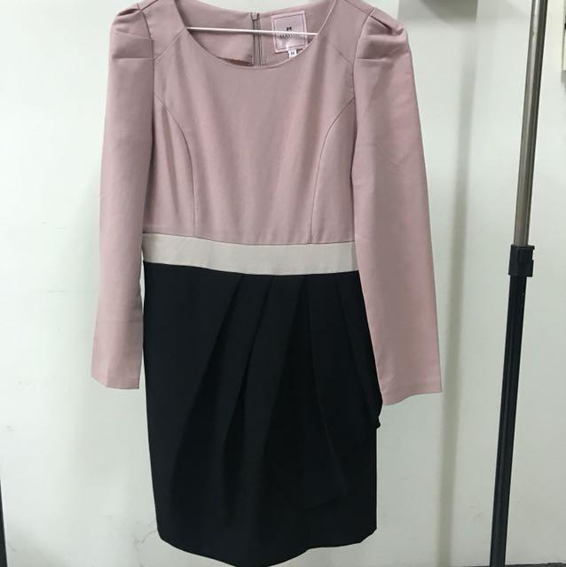 東京著衣🎀粉膚色花苞裙修身拼接洋裝